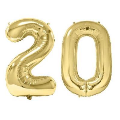 REF/BA3012 - Chiffre 20 avec 2 ballons géants dorés métallisés 86cm pour fête anniversaire.
