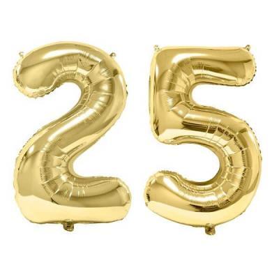 REF/BA3012 - Chiffre 25 avec 2 ballons géants dorés métallisés 86cm pour fête anniversaire.