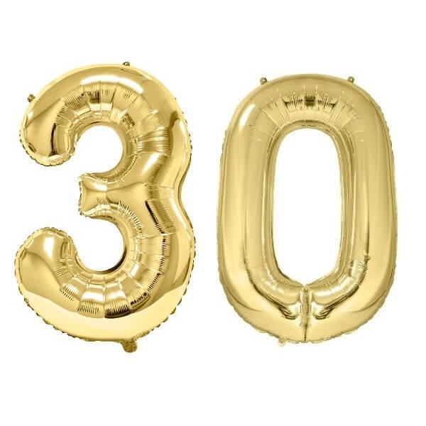Ballon geant dore chiffre anniversaire 30ans de 86cm