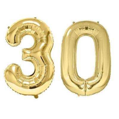 REF/BA3012 - Chiffre 30 avec 2 ballons géants dorés métallisés 86cm pour fête anniversaire.