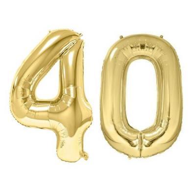 REF/BA3012 - Chiffre 40 avec 2 ballons géants dorés métallisés 86cm pour fête anniversaire.