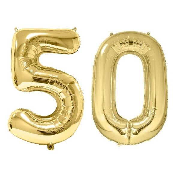 Ballon geant dore chiffre anniversaire 50ans de 86cm
