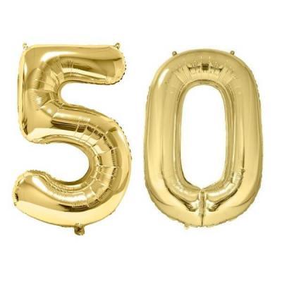 REF/BA3012 - Chiffre 50 avec 2 ballons géants dorés métallisés 86cm pour fête anniversaire.