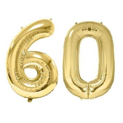REF/BA3012 - Chiffre 60 avec 2 ballons géants dorés métallisés 86cm pour fête anniversaire.