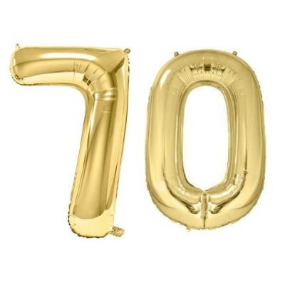 REF/BA3012 - Chiffre 70 avec 2 ballons géants dorés métallisés 86cm pour fête anniversaire.