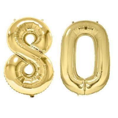 REF/BA3012 - Chiffre 80 avec 2 ballons géants dorés métallisés 86cm pour fête anniversaire.