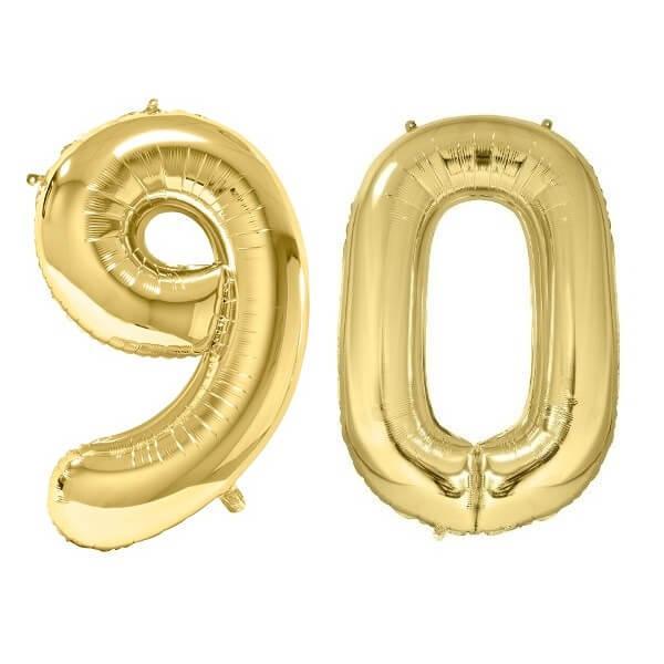 Ballon geant dore chiffre anniversaire 90ans de 86cm