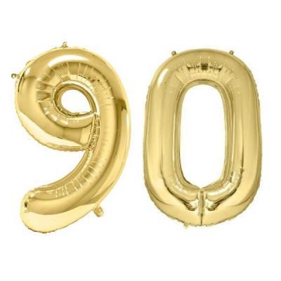 REF/BA3012 - Chiffre 90 avec 2 ballons géants dorés métallisés 86cm pour fête anniversaire.