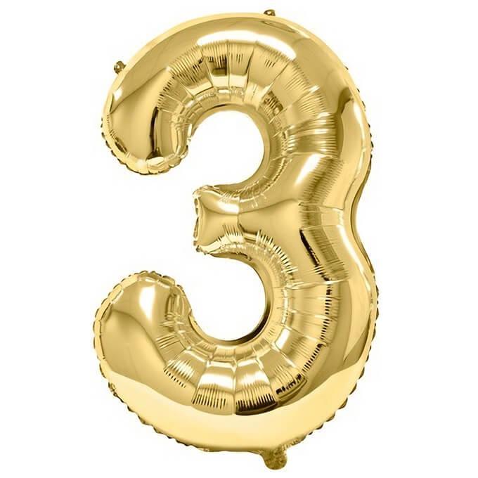Ballon geant dore metal 86cm anniversaire chiffre 3