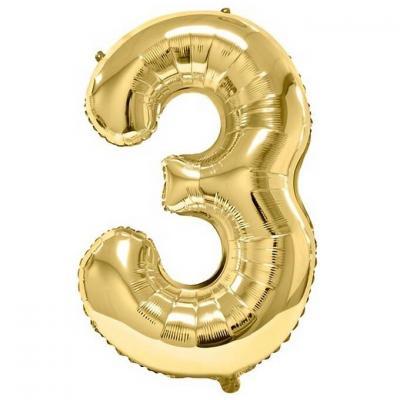 Ballon aluminium doré métallisé chiffre 3 pour anniversaire (x1) REF/BA3012