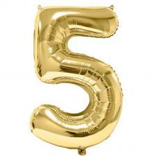 Ballon aluminium doré métallisé chiffre 5 pour anniversaire (x1) REF/BA3012