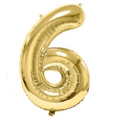 Ballon aluminium doré métallisé chiffre 6 pour anniversaire (x1) REF/BA3012