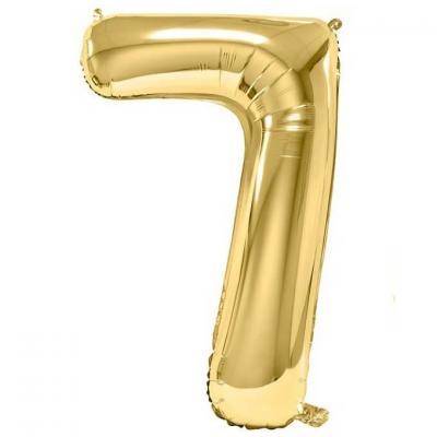 Ballon aluminium doré métallisé chiffre 7 pour anniversaire (x1) REF/BA3012