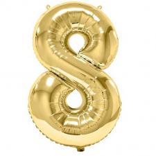 Ballon aluminium doré métallisé chiffre 8 pour anniversaire (x1) REF/BA3012