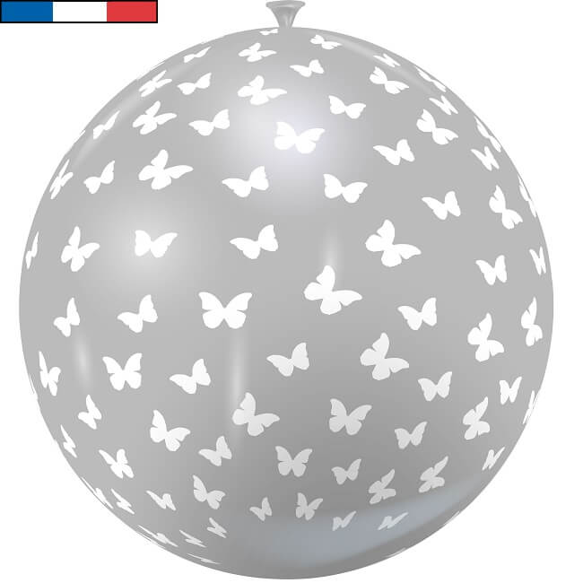 Ballon geant en latex francais papillon gris et blanc