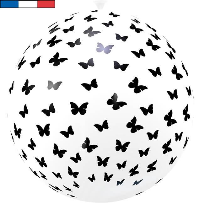 Ballon geant en latex francais papillon noir et blanc