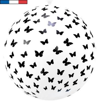Ballon français géant papillon blanc en latex 1m (x1) REF/32055