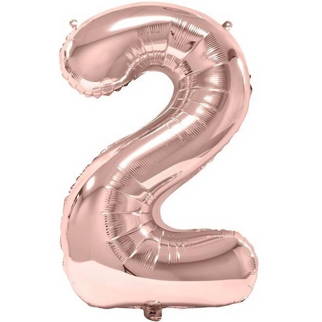 Ballon geant fete anniversaire chiffre 2 en rose gold