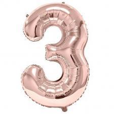 Ballon géant 86cm chiffre 3 rose gold pour fête anniversaire (x1) REF/BA3012