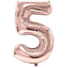 Ballon géant 86cm chiffre 5 rose gold pour fête anniversaire (x1) REF/BA3012