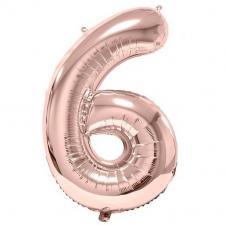 Ballon géant 86cm chiffre 6 rose gold pour fête anniversaire (x1) REF/BA3012