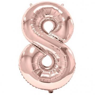 Ballon géant 86cm chiffre 8 rose gold pour fête anniversaire (x1) REF/BA3012