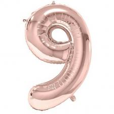 Ballon géant 86cm chiffre 9 rose gold pour fête anniversaire (x1) REF/BA3012