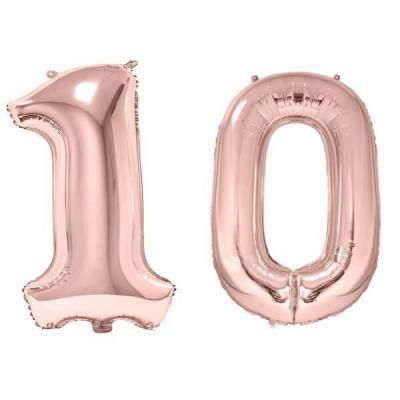 REF/BA3012 - 1 Pack de 2 Ballons 86cm chiffre 10 en rose gold pour fête anniversaire.