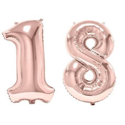 REF/BA3012 - 1 Pack de 2 Ballons 86cm chiffre 18 en rose gold pour fête anniversaire.