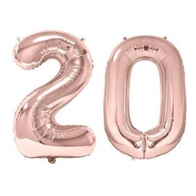 REF/BA3012 - 1 Pack de 2 Ballons 86cm chiffre 20 en rose gold pour fête anniversaire.