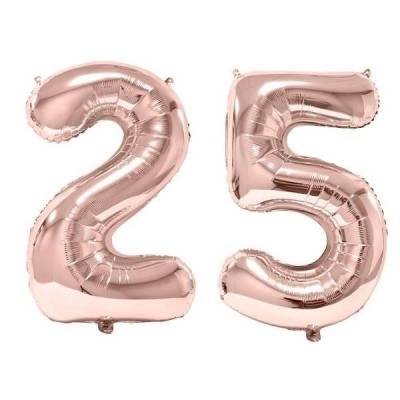REF/BA3012 - 1 Pack de 2 Ballons 86cm chiffre 25 en rose gold pour fête anniversaire.