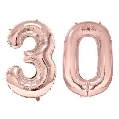 REF/BA3012 - 1 Pack de 2 Ballons 86cm chiffre 30 en rose gold pour fête anniversaire.