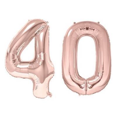 REF/BA3012 - 1 Pack de 2 Ballons 86cm chiffre 40 en rose gold pour fête anniversaire.