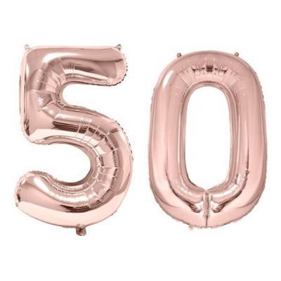 REF/BA3012 - 1 Pack de 2 Ballons 86cm chiffre 50 en rose gold pour fête anniversaire.