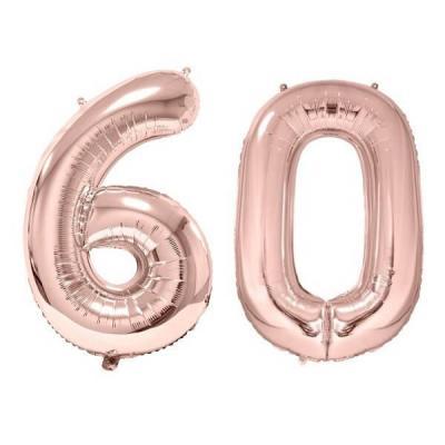 REF/BA3012 - 1 Pack de 2 Ballons 86cm chiffre 60 en rose gold pour fête anniversaire.