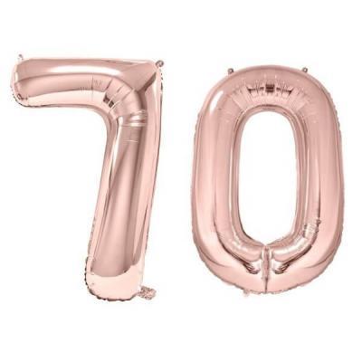 REF/BA3012 - 1 Pack de 2 Ballons 86cm chiffre 70 en rose gold pour fête anniversaire.