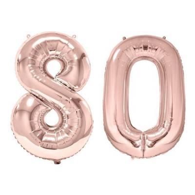 REF/BA3012 - 1 Pack de 2 Ballons 86cm chiffre 80 en rose gold pour fête anniversaire.