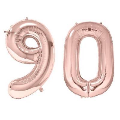 REF/BA3012 - 1 Pack de 2 Ballons 86cm chiffre 90 en rose gold pour fête anniversaire.