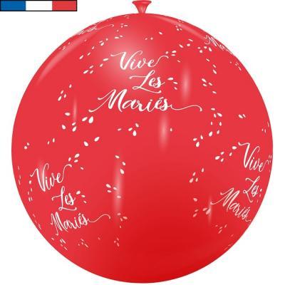 Ballon français mariage rouge et blanc 1m en latex (x1) REF/11975