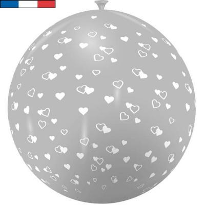 Ballon français géant en latex gris avec coeurs 1m (x1) REF/9279