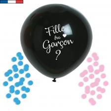 Ballon géant noir latex naturel surprise fille ou garçon 1m (x1) REF/48506