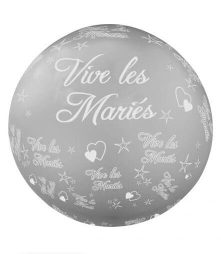 Ballon geant mariage vive les maries argent