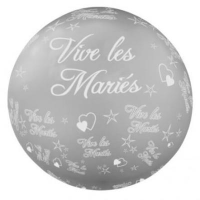 Ballon géant mariage: Vive les mariés, 1.16m: Argent (x1) REF/BALGM02