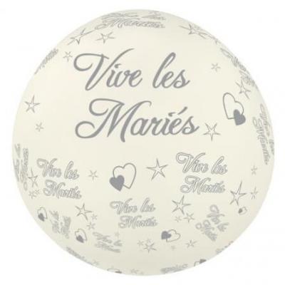 Ballon géant mariage: Vive les mariés, 1.16m: Blanc (x1) REF/BALGM01