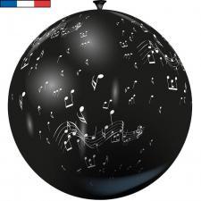 Ballon géant français musique noir en latex 1m (x1) REF/15195