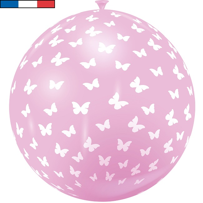 Ballon geant papillon rose en latex de fabrication francaise