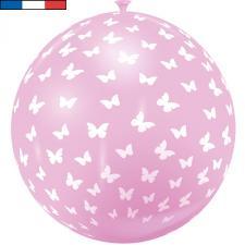 Ballon français géant papillon rose en latex 1m (x1) REF/32055