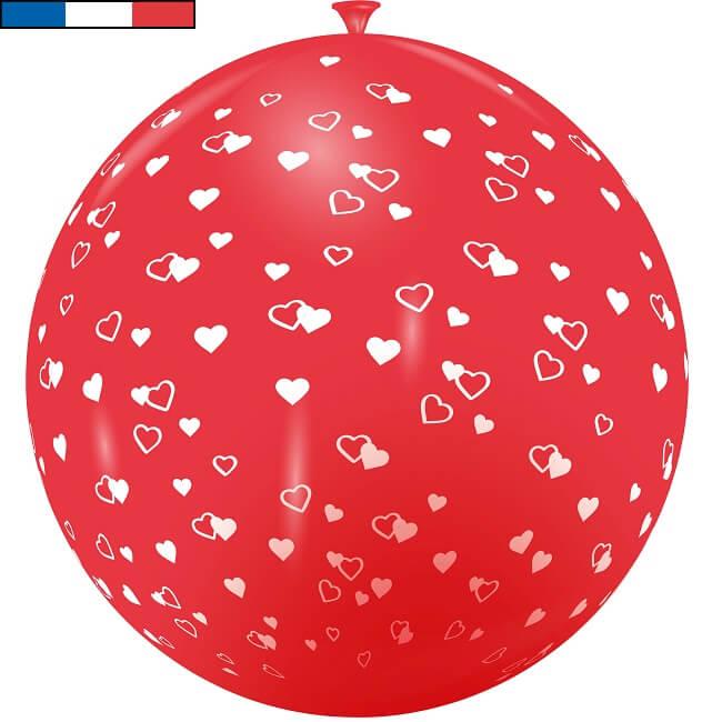 Ballon geant rouge mariage coeur en latex de fabrication francaise