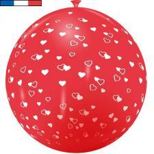 Ballon français géant en latex rouge avec coeurs 1m (x1) REF/9279