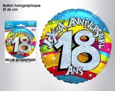 Ballon holographique anniversaire 18ans (x1) REF/BALH01